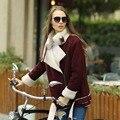 Вери güde женщин искусственного меха пальто вино цвет теплая куртка для мотоциклов стиль