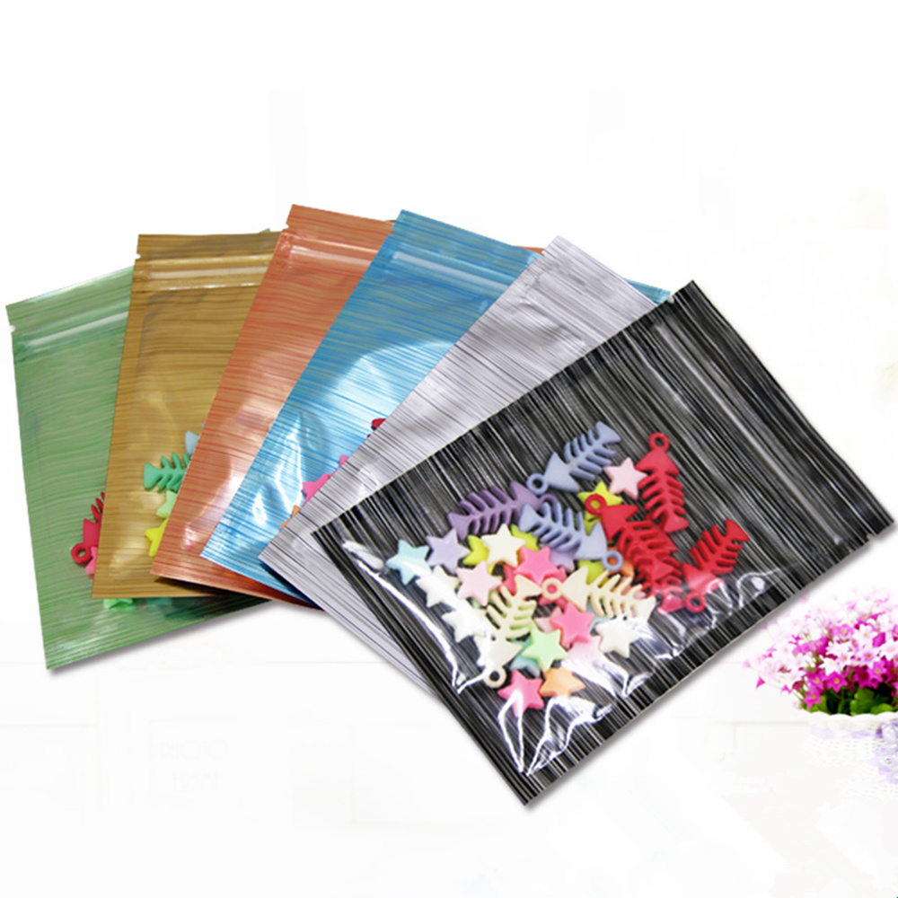 1000Pcs Wiredrawing Design Front Clear Aluminum Foil Ziplock Packing Bags Mylar Zip Lock Packaging Pouches for Snack Nuts Beans