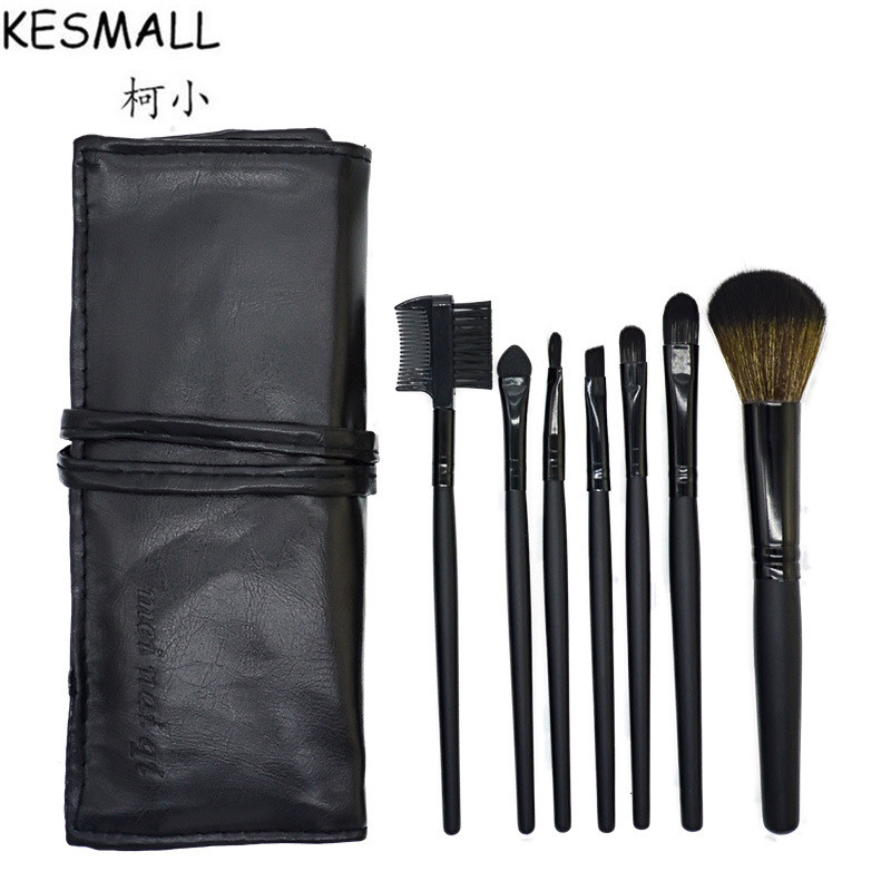Professional 7 PCS Makeup Brushes Set With Case Make-up Toiletry Kit Make Up Tools Set Cosmetic Foundation Facial Brush CO294 professional bullet style cosmetic make up foundation soft brush golden white