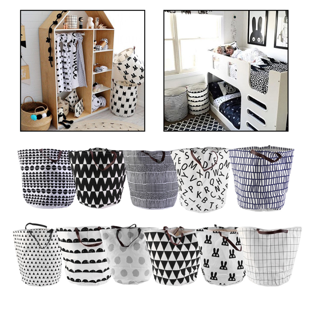 New Quality Dirty Clothing Laundry Basket Decoration Nursery Children Toys Can Stand Canvas Storage Bag Bearing 1 5 Kg Organizer In Bags From Home