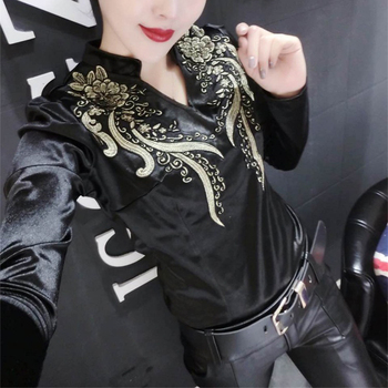 Spring Long Sleeve V Neck Embroidery Satin Shirts Women European Style Black Slim wild