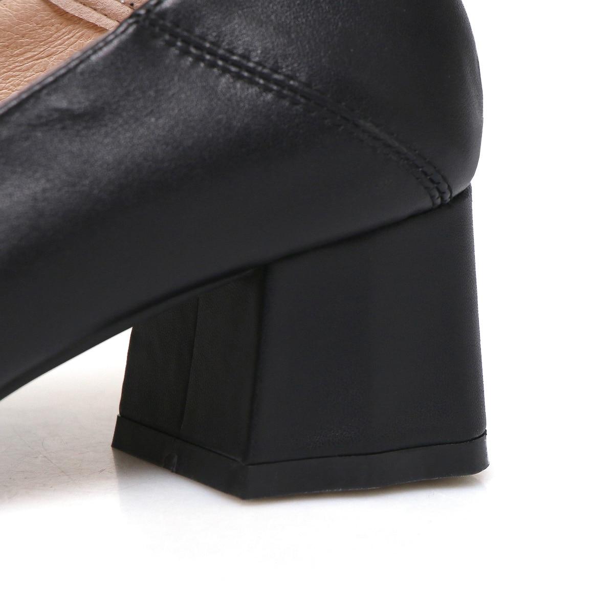Carré Cuir Vache Dame Apricot Talon blanc Chaussures Pompes Orteil Bouton Métal 2019 noir Femmes En De Bande Rxwznp