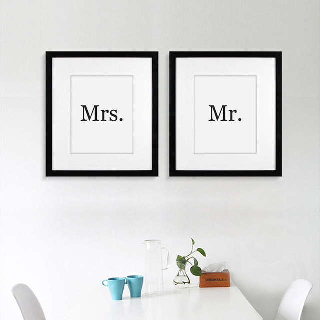 Black and White Quote poster MR AND MRS home decor Canvas painting Pictures on the wall for living room bedroom sign No framed