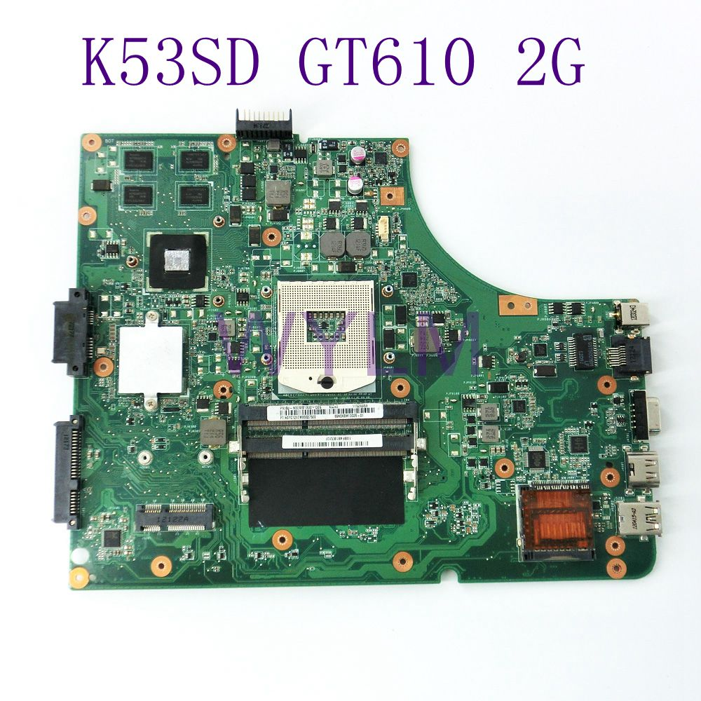 K53SD GT610M 2GB N13M-GE1-S-A1 Mainboard REV 5.1 For ASUS A53S X53S K53SD Laptop motherboard DDR3 USB 3.0 100% Tested Working for asus k53sd main board rev 5 1 laptop motherboard intel hm65 nvidia geforce gt610m graphics ddr3 full tested
