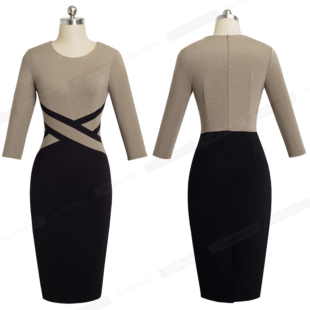 Nice-forever Vintage Elegant Contrast Color Patchwork Wear to Work vestidos Business Party Office Women Bodycon Dress B463 21