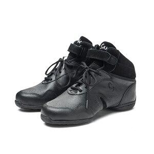 Image 5 - سانشا الرقص أحذية رياضية جلد الخنزير العلوي TPR الانقسام الوحيد عالية أعلى كعب منخفض رياضية الفتيات النساء الرجال الرقص الحديث أحذية B62LPI