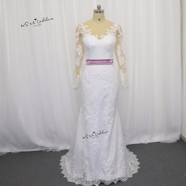 2017 Elegant Mermaid Wedding Dress Long Sleeve Vestido de Noiva Sereia Pink  Sash Lace Bride Dress fa72c8a6708b