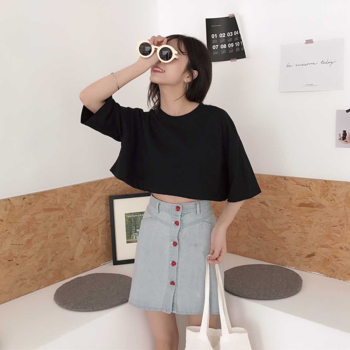 bb90f5195fa43a ... T-shirt Woman 2019 Summer Fashion TShirt Top Korean Ulzzang Harajuku  Solid Backless Hollow Short ...