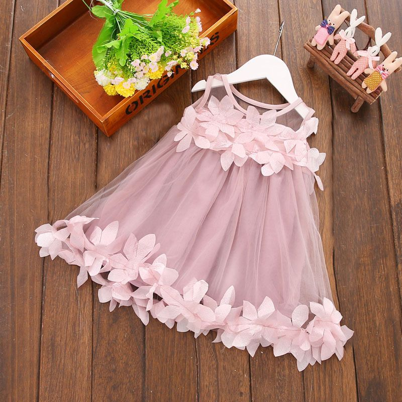 Fashion Children s Kids Baby Girls Mesh Flower Sweet Sleeveless Dresses Princess Party Tutu Ball Gown