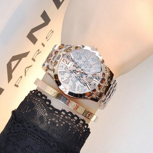 91dcef4e143 Latest New Women Watches Lady Diamond Stone Dress Watch Steel Leopard  Rhinestone Bracelet Wristwatch Female Tiger Crystal Watch