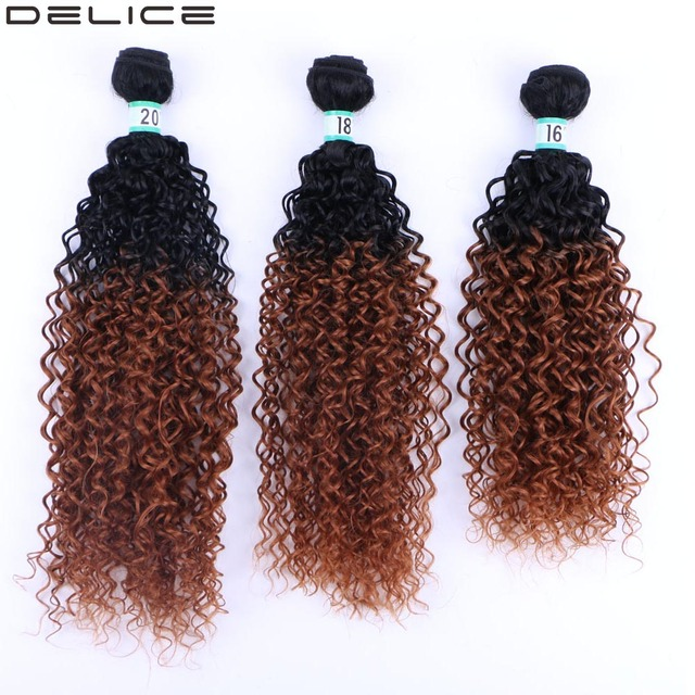Delice Dark Brown Ombre Hair Weaving Kinky Curly Hair Extensions