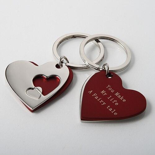 100 шт. персонализированные Свадебный подарок для гостей Сувениры, брелок сердце Свадебный с коробкой, обручение подарки партии с логотипом