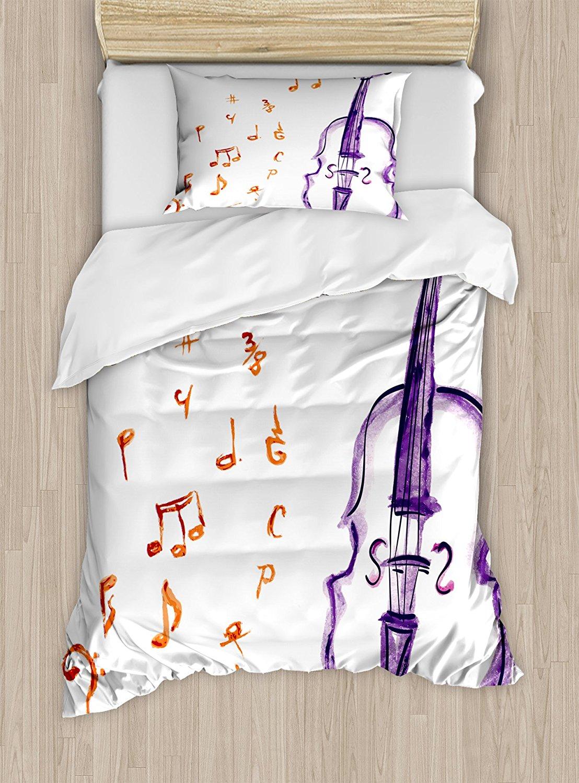 Музыка постельное белье музыкальные ноты Инструмент Скрипка Виолончель в акварели Стиль белый фон принт, 4 шт. Постельное белье
