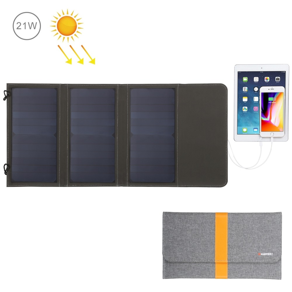 HAWEEL Waterproof Foldable Solar Charger bag 14W 21W 28W Solar Panel Dual USB Port for iphone