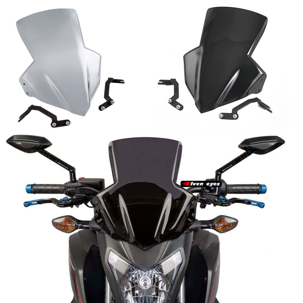 Motorcycle Windshield Windscreen Racing Flyscreen Protector with Mount Bracket for 2014 2018 Honda CB650F CB650FA 2015