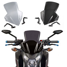 Motorcycle Windshield Windscreen Racing Flyscreen Protector with Mount Bracket for 2014-2018 Honda CB650F CB650FA 2015 2016 2017