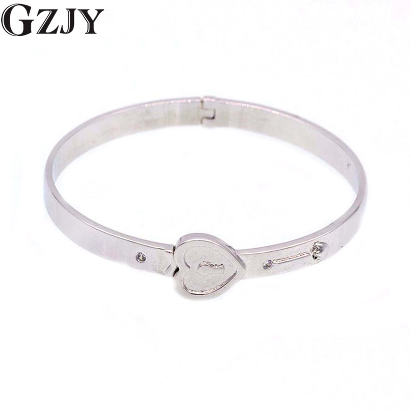 GZJY Fashion Simple Charm Heart Cuff Bangle Bracelets For Women Girl White Gold Color Wedding Party Jewelry