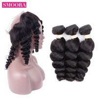 SMOORA Malaysian Hair Loose Wave Lace Frontal With Bundle 3 Bundles Weave With 360 Lace Front 100% Human Hair Extensions