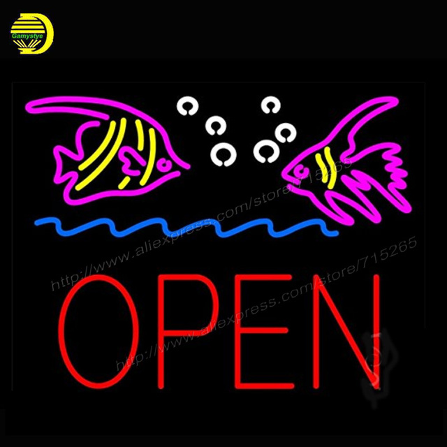 Fish logo block open outdoor neon sign real neon bulb handcrafted fish logo block open outdoor neon sign real neon bulb handcrafted recreation room bar pub wall aloadofball Images