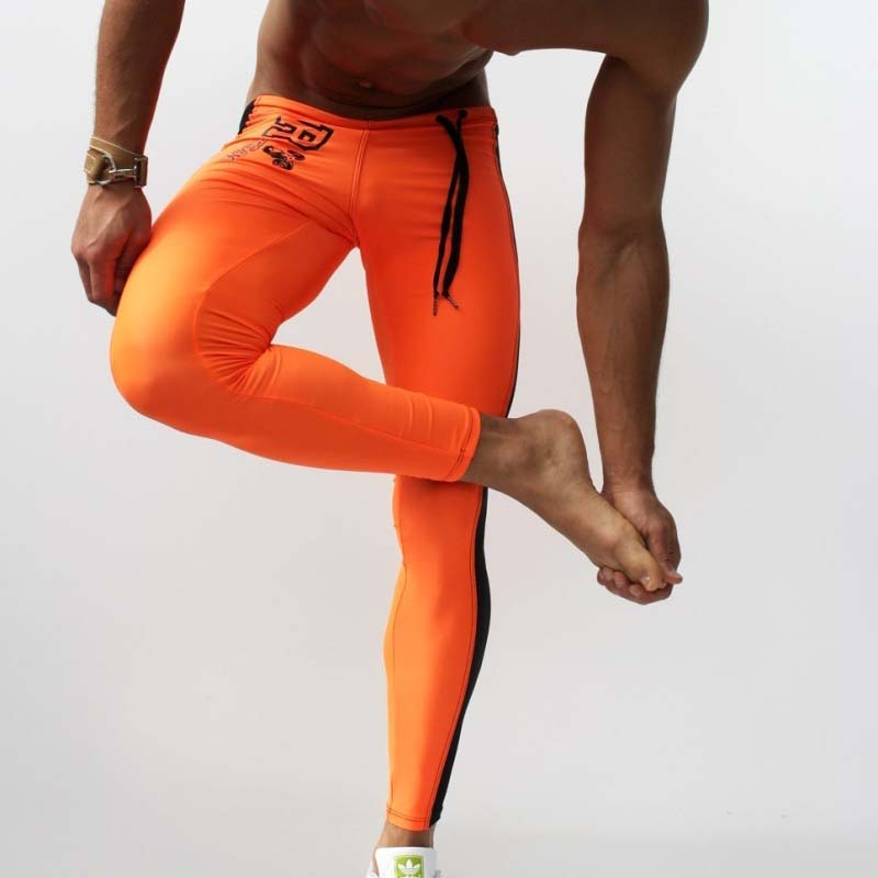 Men's Training Pant Spandex Tights Leggings Joggers Pants Low-waist Elastic Sports fitness Skinny yoga Running Pants Side Stripe stripe contrast split pants