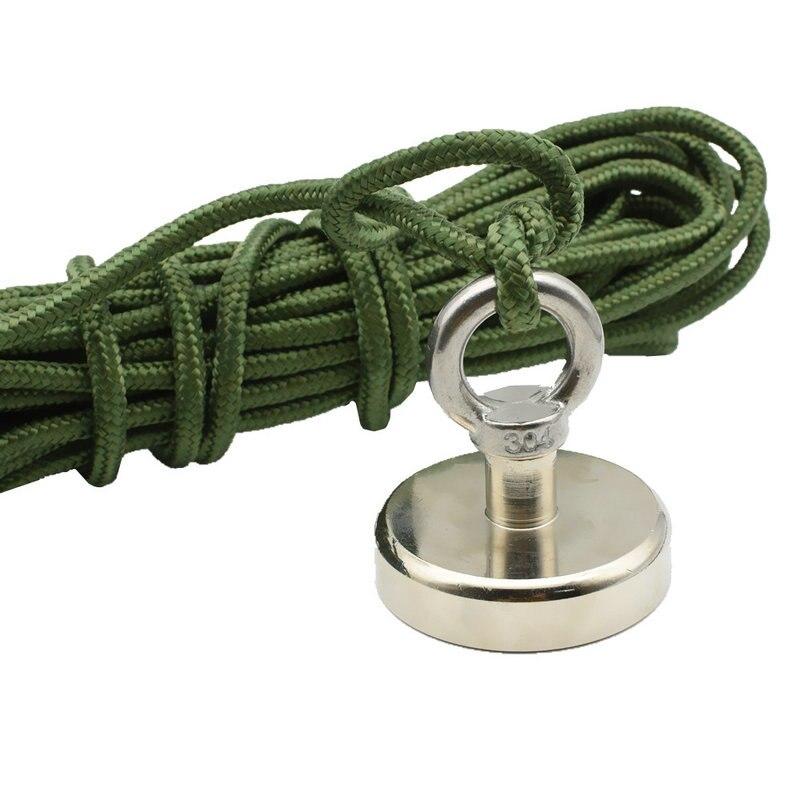 Magnet Fishing Tool Diameter 60mm Pot Magnet Neodymium Lifting Magnet with Nylon Rope Deep Sea Salvage Magnet for Fishing цена 2017
