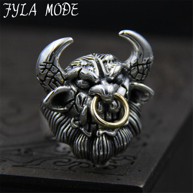 FYLA MODE The Journey To West style Bull Demon King Ring For Men Punk Classic S925 Sterling Silver Jewelry 29MM 26G PBG061