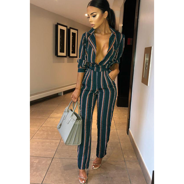 Fashion striped printed jumpsuits for women 2018 Half sleeve turn down collar long rompers womens jumpsuit Autumn new overalls 3
