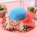Женская мода Складной Цветочный Принт Флоппи Шапка Соломенная Пляж Широкими Полями Большой Колпак Подарок 5 цветов 31