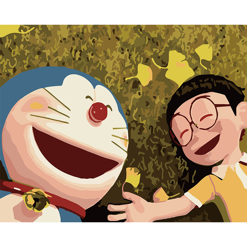 Doraemon and Daxiong acrylic paint by numbers framed coloring picture diy painting by numbers for kids Wall Art Picture in Paint By Number from Home Garden