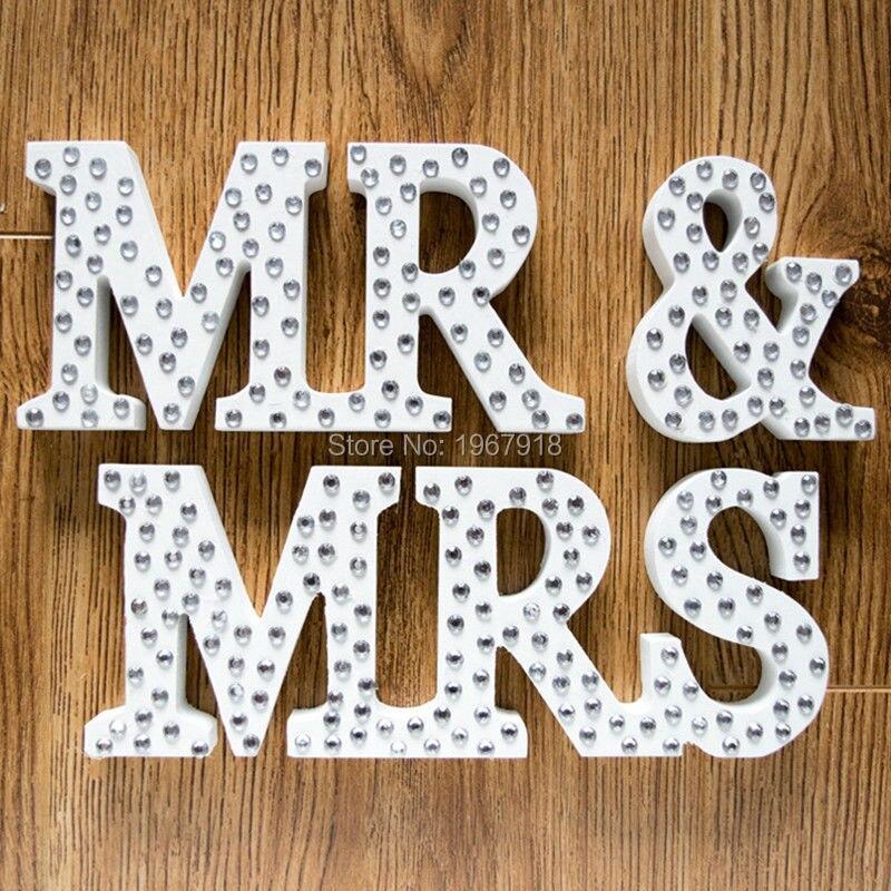 Деревянный свадебные признаки mr & Mrs Письма украшения с бриллиантами свадебные реквизит для фотосессии Свадебные украшения центральные т...