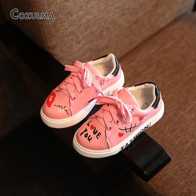 2018 Spring Child Sport Shoes Sneakers PU Leather Sneaker Boys Girls Sneakers  Kids Shoes 2