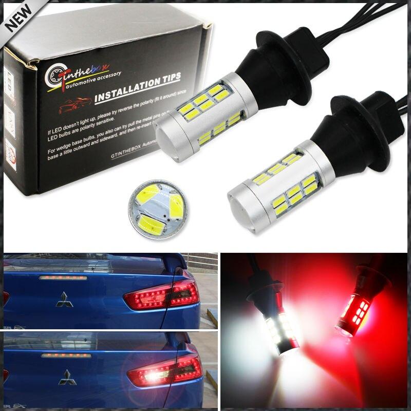 2 pces 21-smd branco/vermelho duplo-cor 7440 7444 t20 lâmpadas de substituição led para backup do carro luzes reversa & conversão da lâmpada de nevoeiro traseira