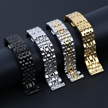 14 16 18 20 22mm Solid Stainless Steel Belt Watchband  Watch Band Strap Straight Mouth Butterfly Buckle /Clasp for Wrist Watches 22mm quick release ceramic watchband tool for tissot longines mido luminox seiko watch band steel butterfly clasp wrist strap