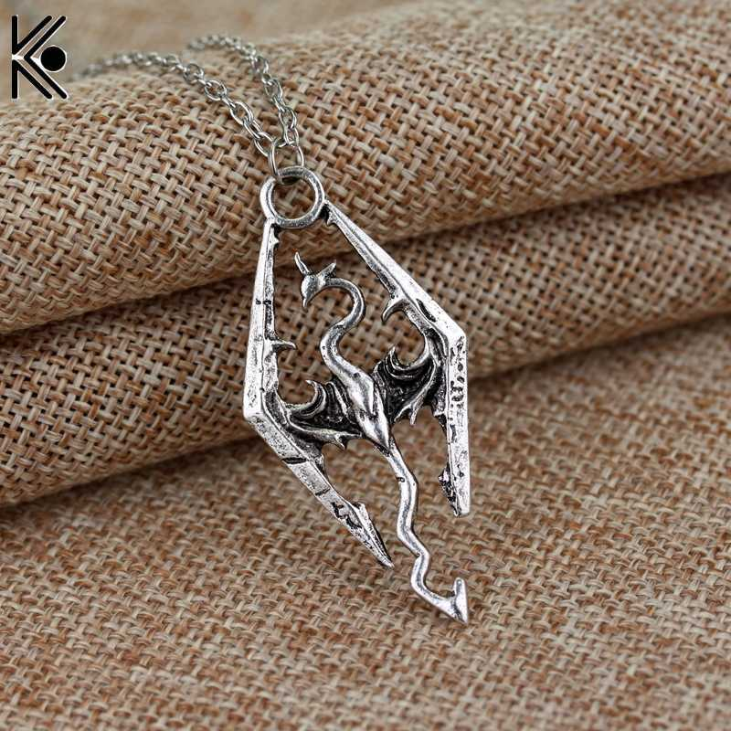 Vintage Elder Scrolls Skyrim Dragon Pendant Necklace Fashion Pterosaur Necklaces Summer Fine Men Jewelry necklace for men