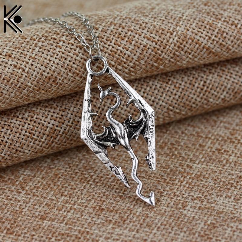 Винтажное ожерелье с подвеской Дракон Skyrim, модные ожерелья Птерозавр, летние Изящные мужские ювелирные изделия, ожерелье для мужчин