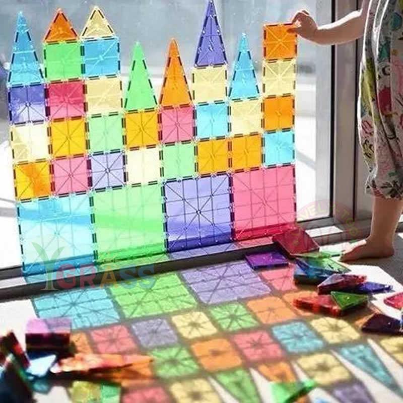 Bloki magnetyczne zabawki magnesy dziecięce kwadratowe gry budowlane projektant konstruktor płytki cegły Model zabawki edukacyjne dla dzieci