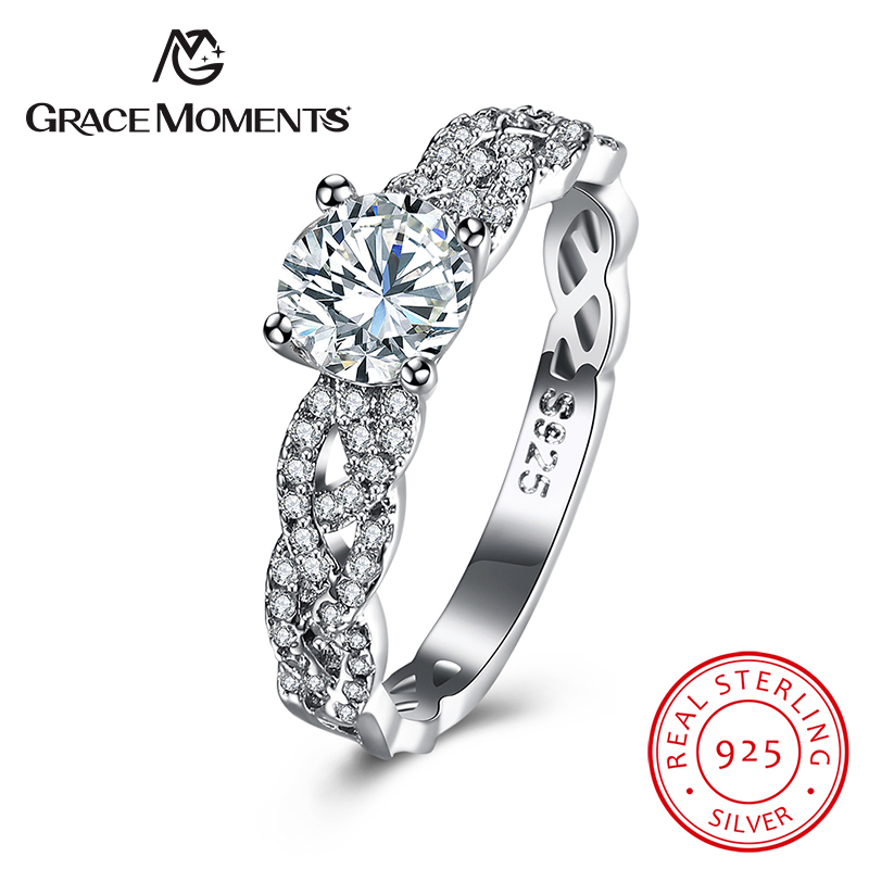 GRACE MOMENTS New Fashion 100% Pure 925 Sterling Silver Silver Twisted Woven Rings With Round Clear CZ For Girl Jewelry Gift
