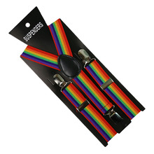 HUOBAO Rainbow Print Suspenders Boys Girls Lovely Clip-on Y-Back Braces Elastic Kids Gift