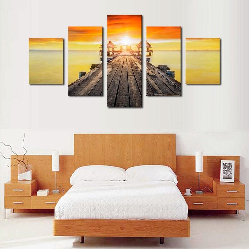 ⑥5 paneles (sin Marcos) modern seascape Sunset paisaje lienzo arte ...