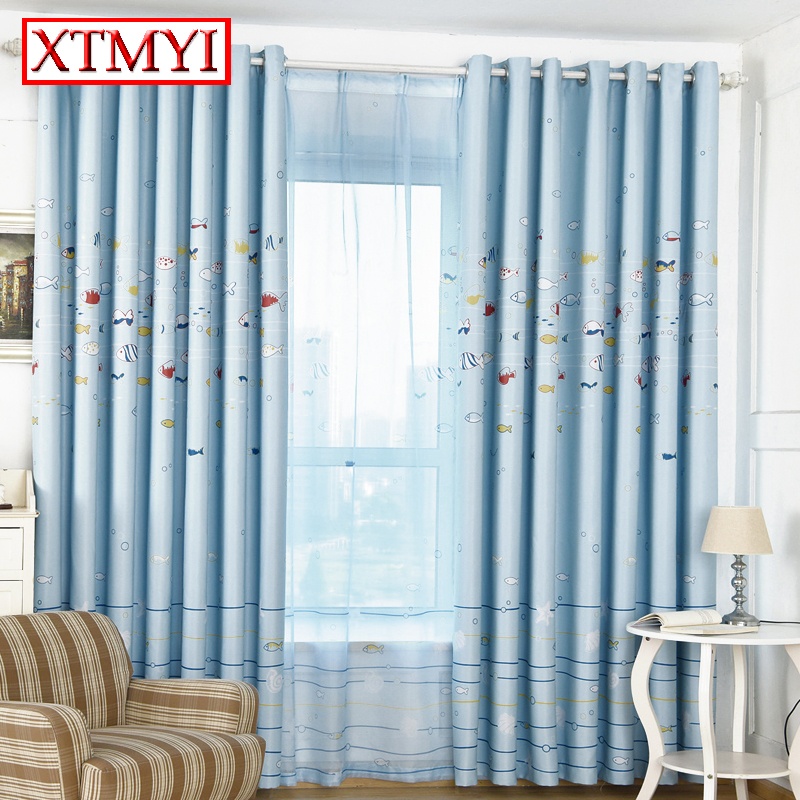 baby room curtains for living room bedroom curtains cartoon for kids girls blue blackout curtains window
