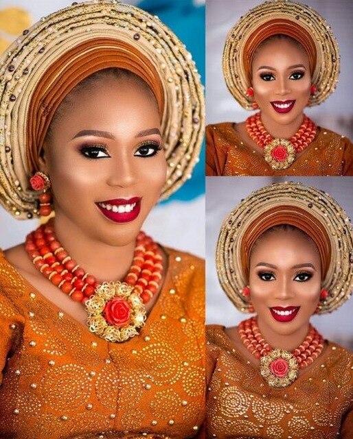 Nigerii ślubne biżuteria biżuteria z korali zestaw dla kobiet czerwony i złota róża wisiorek naszyjnik dla nowożeńców kostium naszyjnik zestaw NCL732 w Zestawy biżuterii od Biżuteria i akcesoria na  Grupa 1