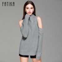 FATIKA Women S Off Shoulder Turtleneck Knitted Sweaters Autumn 2017 Fashion Pullover Jumpers Winter Oversized Sweater