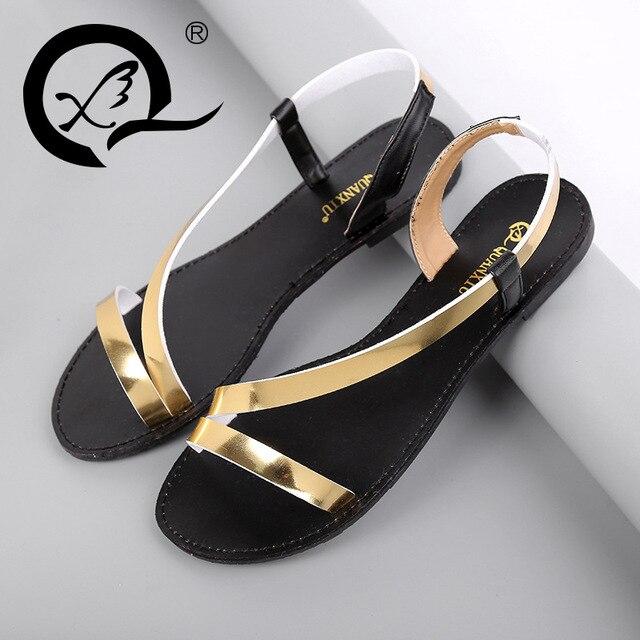 802147452ac2 Top Beautiful Women Sandals 2016 Flat Sandals Women Summer Shoes Metal Gold  Black Ladies Sandals Strap Beach Flats Sandal Outlet