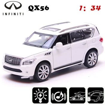 White Light Up Toys 1 34 Scale Models Infiniti Qx56 Cast Boy For Children Toy Cars Collectible Model
