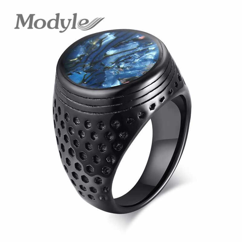 Modyle 2019 جديد العلامة التجارية فاسق خمر وعاء من الستانليس ستيل الأسود الأزرق قذيفة شقة الخاتم الدائري للرجال