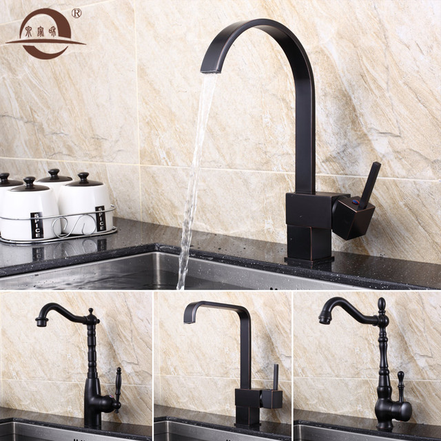 US $72.57 41% OFF|Kitchen Faucets Black Retro Copper Brushed Bathroom Sink  Faucet Single Handle Deck Mount Washbasin Hot And Cold Mixer Tap YD 902-in  ...