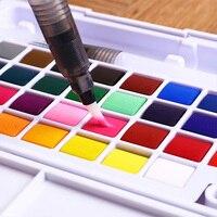 12/18/24/36 цветов Портативные водные цветные краски с краской кисти ручки твердые пигментные акварельные краски принадлежности для рисования ...