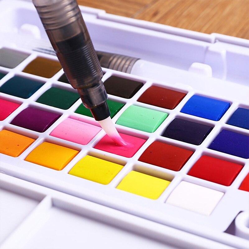 12/18/24/36 couleurs peintures à l'eau portables avec peinture pinceau stylos solide Pigment aquarelle dessin Art fournitures pour les enfants