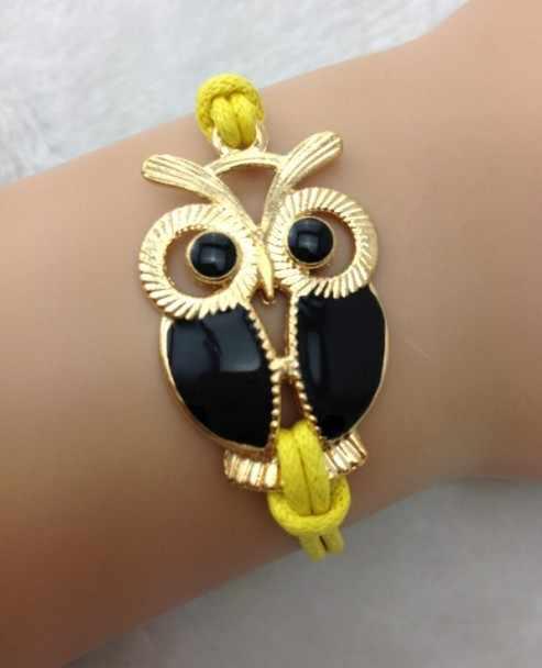 1pc antique golden owl bracelet,wax cord bracelet,charm bracelet 1657