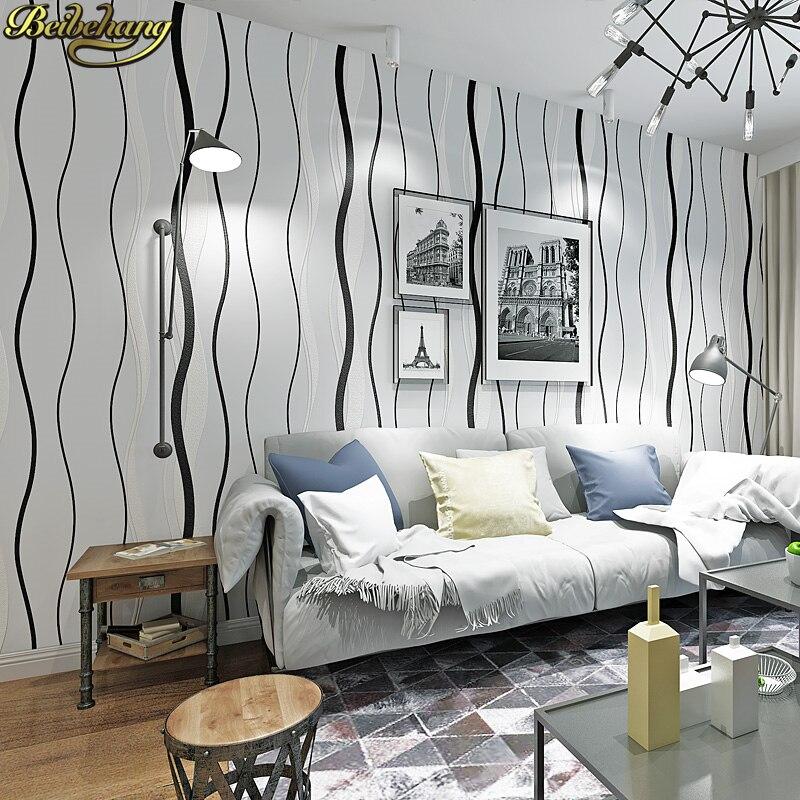 Beibehang papier peint noir pivotant courbes cercles neutre géométrique papier peint 3d papier peint mural rouleau pvc papier peint pour salon - 3